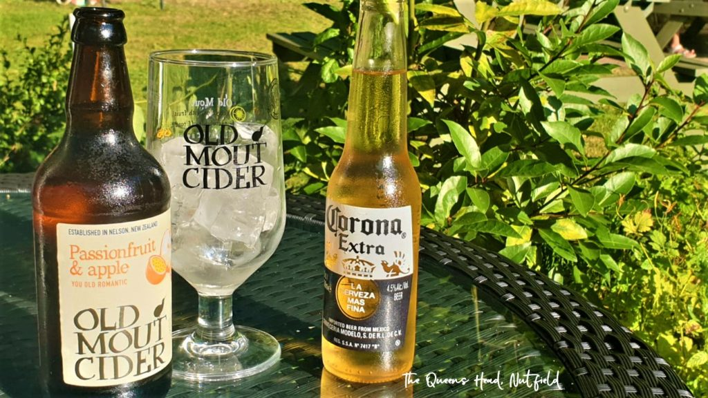 old mount cider and corona extra at the Queens Head Pub at Nutfield, Redhill, Surrey