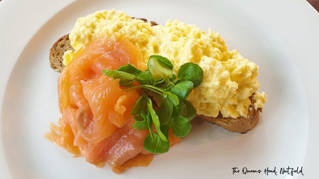 scrabbled egg and smoked salmon at the Queens Head Pub at Nutfield, Redhill, Surrey