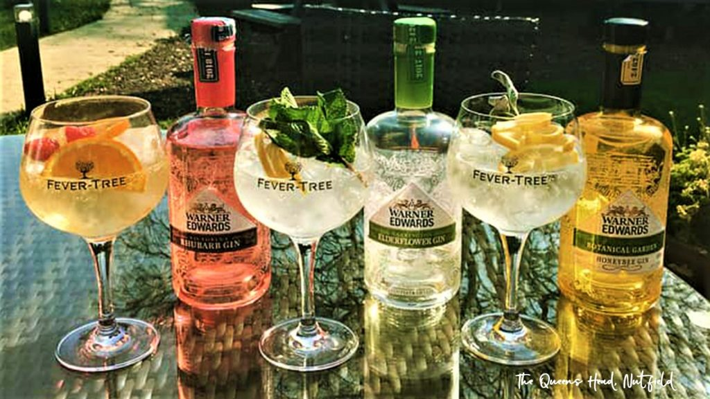 warner edwards gins and fever-tree tonics at the Queens Head Pub at Nutfield, Redhill, Surrey