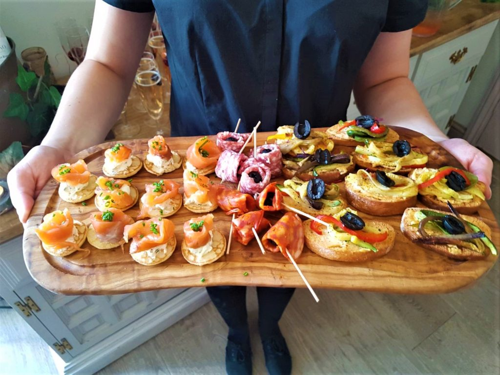delicious canapes served at a private function at the Queens Head Pub at Nutfield, Redhill, Surrey