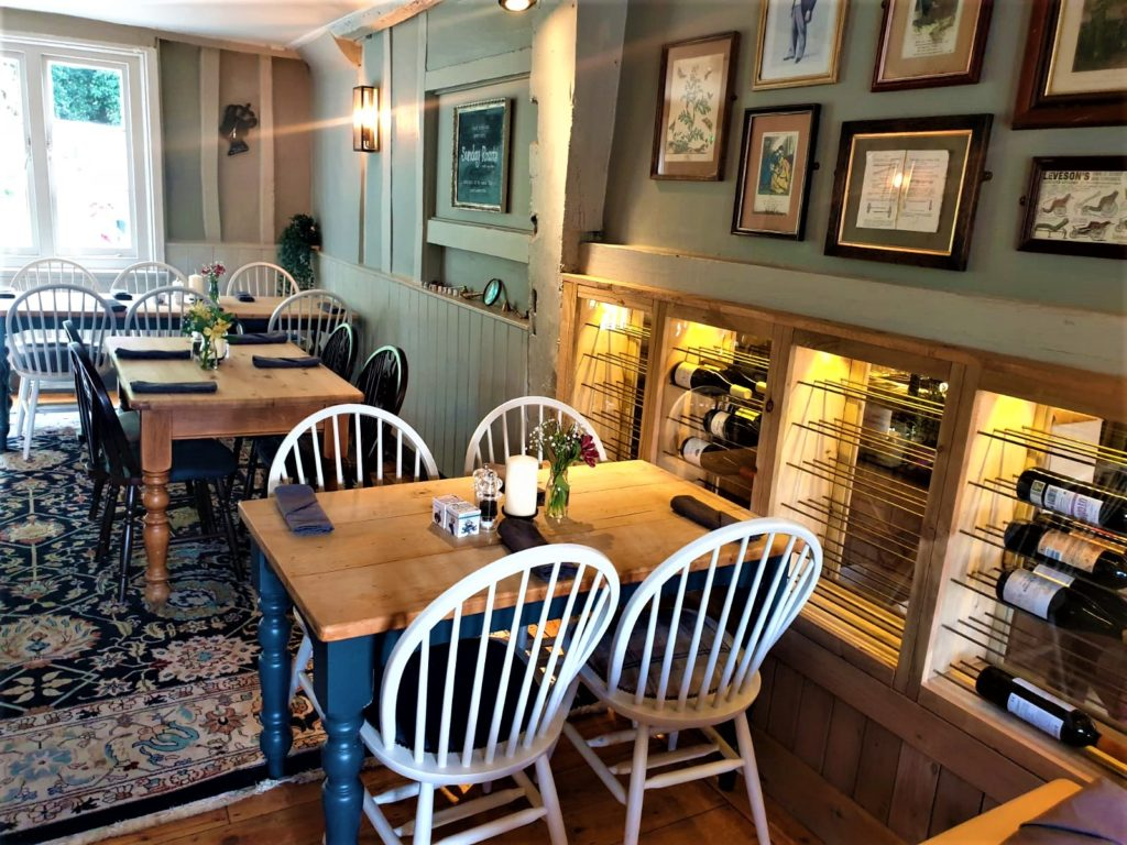 dining room and wine racks at the Queens Head Pub at Nutfield, Redhill, Surrey