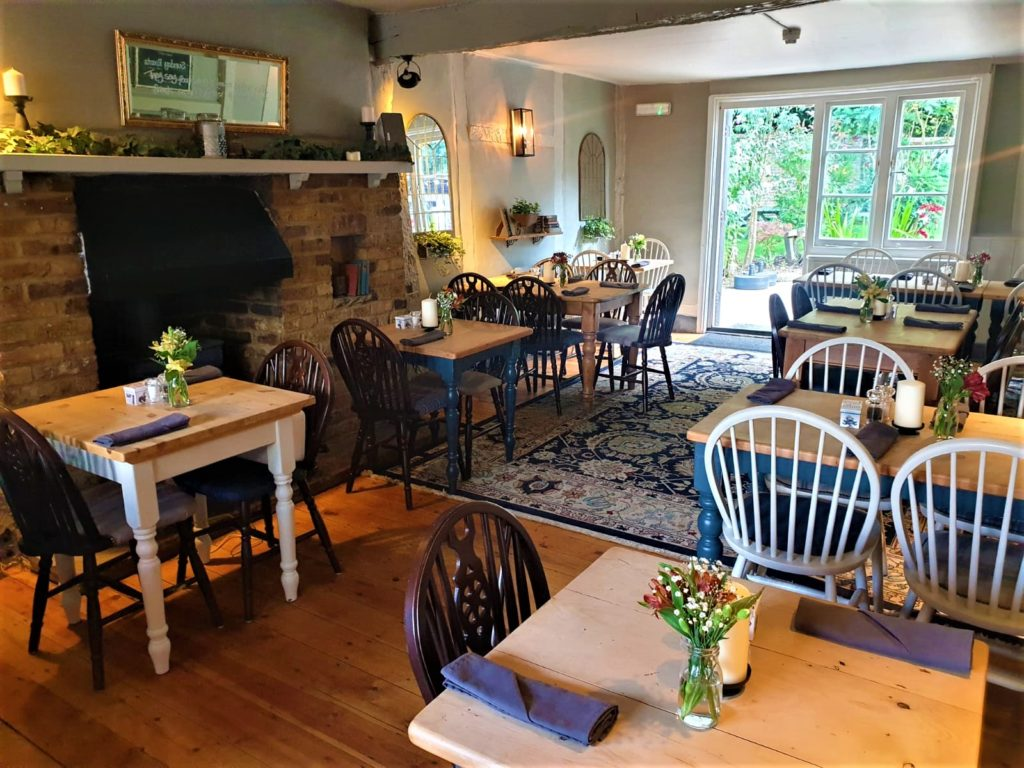 dining room through to gardens at the Queens Head Pub at Nutfield, Redhill, Surrey