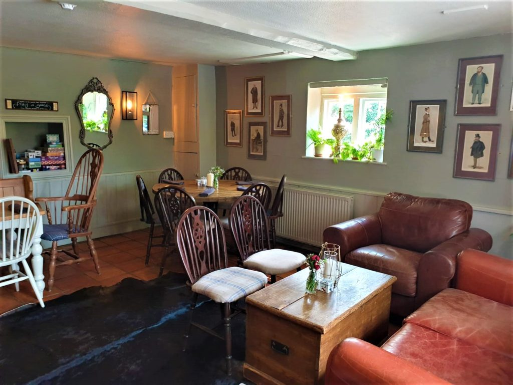 sofas tables and chairs at the Queens Head Pub at Nutfield, Redhill, Surrey
