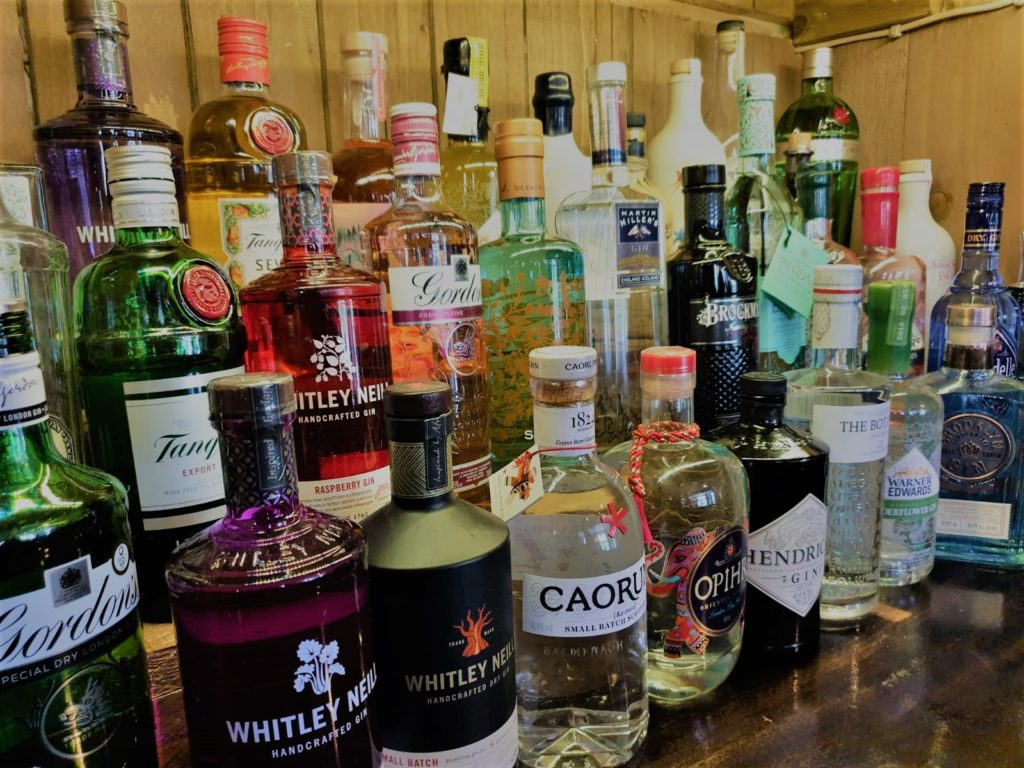 gin bar at the Queens Head Pub at Nutfield, Redhill, Surrey