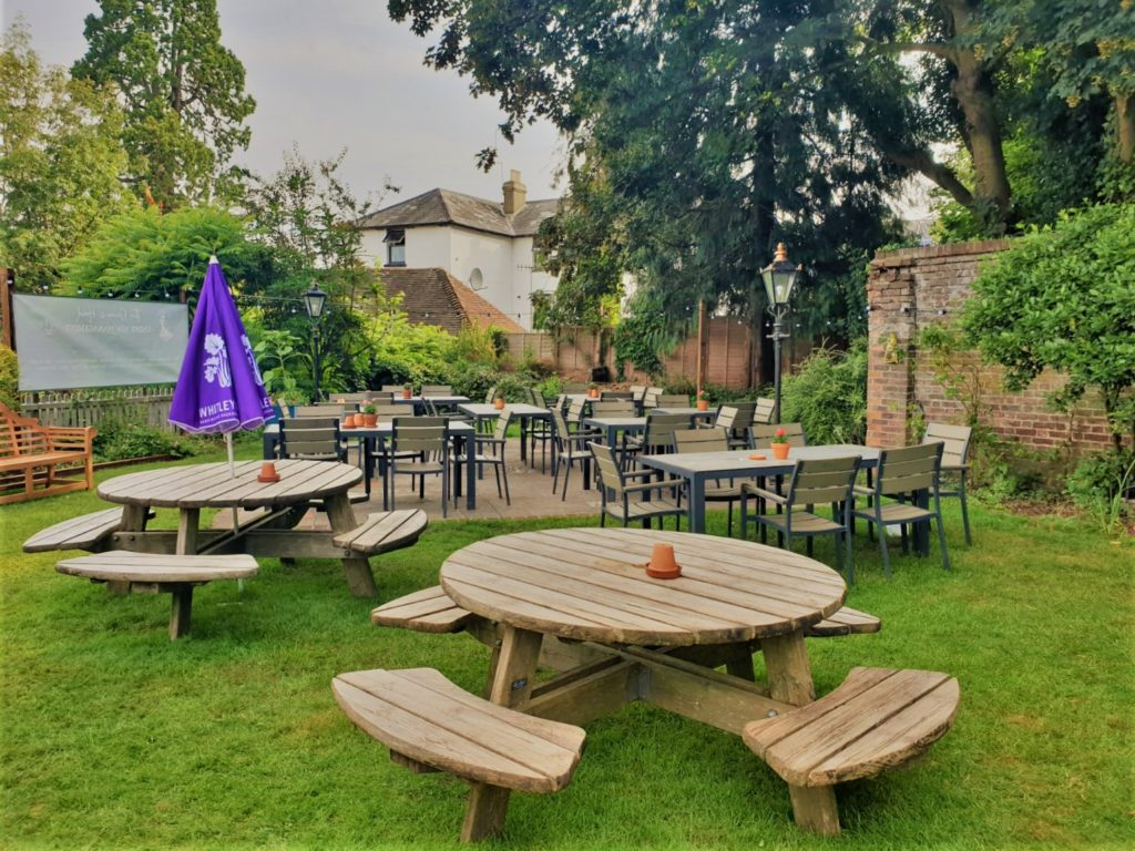 beer garden and patio at the Queens Head Pub at Nutfield, Redhill, Surrey