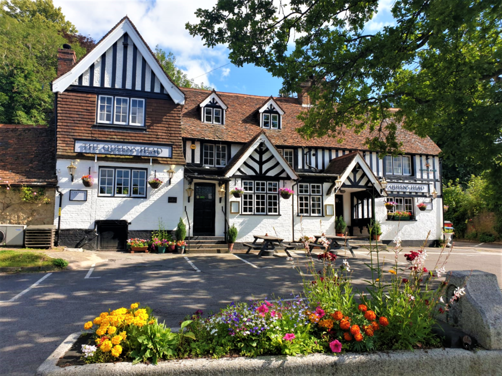 frontage of the Queens Head Pub at Nutfield, Redhill, Surrey
